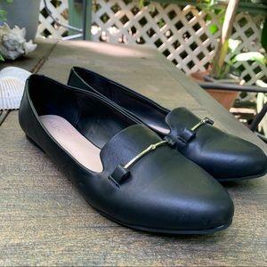 Aldo Black Slip On Leather Loafers | Size 8